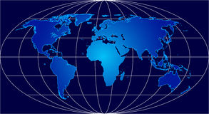 Blue world. Highly detailed map of the world Vector Illustration
