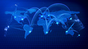Blue world communications concept. Earth communications concept. Blue planar map background Stock Image