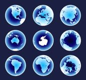 Blue World Continents Royalty Free Stock Photos