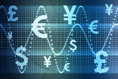 Blue World Currencies Business Abstract Background. Wallpaper royalty free illustration