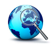 Blue World - focus on Europe. With magnifying glass royalty free illustration