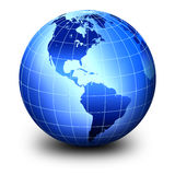 Blue world globe Stock Photo
