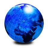 Blue world globe Stock Images