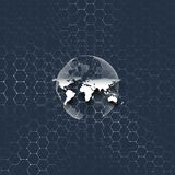 Blue world globe, connecting lines and dots on colorful background. Chemistry pattern, hexagonal molecule structure. Medical research. Medicine, technology Royalty Free Stock Image