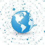 Blue world globe on dotted background planet earth america. Modern style stock illustration
