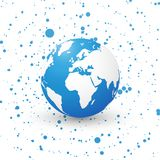 Blue world globe on dotted background planet earth europe. Modern style royalty free illustration