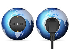 Blue world globe outlet socket Stock Photo