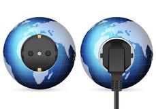 Blue world globe outlet socket Stock Photo