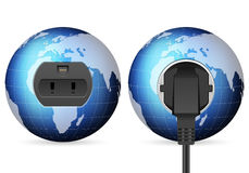 Blue world globe outlet socket Stock Images
