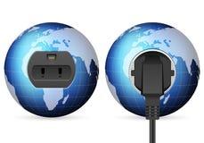 Blue world globe outlet socket Stock Images