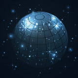 Blue world globe in universe, galaxy with stars in blue background, abstract. 3D graphic Stock Photo