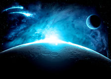 Blue World. Image of a blue world and moon Royalty Free Stock Photography