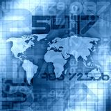 Blue World Information Background. Blue Worldwide World Map Information Concept Stock Image