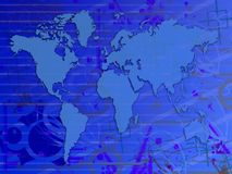 Blue world map Stock Image