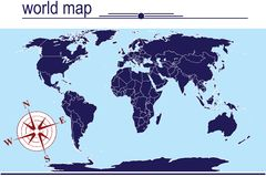 Blue world map. On blue background Stock Photo