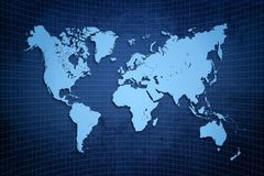 Blue world map. In blue textured background style rough world
