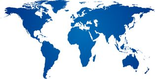 Blue world map. Royalty Free Stock Image