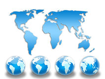 Blue world map. With globes Royalty Free Stock Image