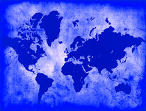 Blue World Map. Parchment World Map - Blue vector illustration