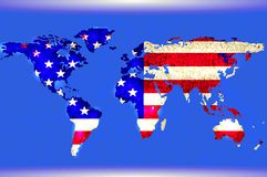 Blue world map. Abstract texture. American flag Stock Images