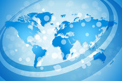 Blue World Map Background. With Sparkles and lines Stock Photography