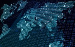Blue world map of binary code, big data and financial chart foreground royalty free stock photography