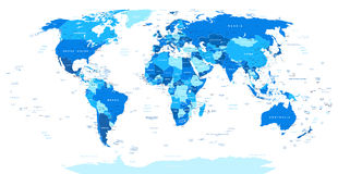Blue World Map - borders, countries and cities -illustration.