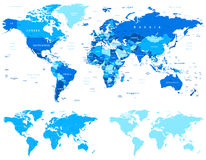 Blue World Map - borders, countries and cities - illustration. World maps with different specification. There are highly detailed countries, cities, water stock illustration