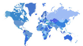 Blue world map. With borders of countries on white background Stock Image
