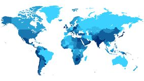 Blue World map with countries. Detailed map of the World with countries in blue colors. Vector illustration royalty free illustration
