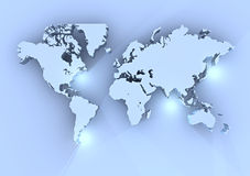 Blue world map 3d Stock Images