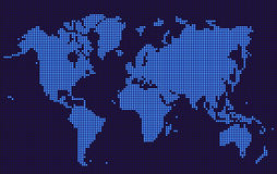 Blue World map dotted style. On dark background. Vector illustration stock illustration