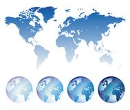 Blue world map and globes royalty free illustration