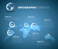 Blue World Map Infographic Template With Pie Charts Royalty Free Stock Photo