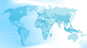 Blue world map made up of dots. Stock Images