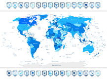 Blue World Map with navigation icons Stock Photo
