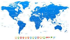 Blue World Map and navigation icons - illustration Royalty Free Stock Images