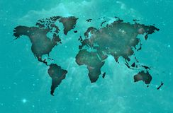 Blue world map over spatial background.