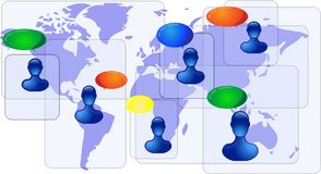 Blue world map with people communicating Royalty Free Stock Image