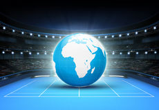 Blue world map placed on a blue court set on Africa and Europe. Tennis sport theme render illustration background Stock Photo