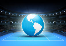 Blue world map placed on a blue court set on America. Tennis sport theme render illustration background Royalty Free Stock Photography