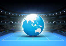 Blue world map placed on a blue court set on Asia. Tennis sport theme render illustration background Royalty Free Stock Photo