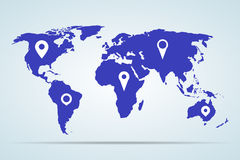 Blue world map with pointers on a gray background. Vector illustration Stock Photo