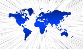 Blue world map with rays Stock Photography