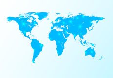 Blue world map with stars Stock Image