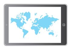 Blue world map in tablet Stock Images