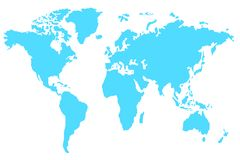 Blue World Map Vector,Isolated map with white background. royalty free illustration