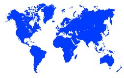 Blue World Map - vector. Blue World Map - stock vector Stock Image
