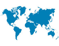 Blue world map on a white background Stock Photos