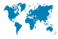 Blue world map on white background. Vector illustration Stock Image